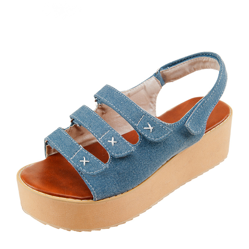 dea291d2b1a6d3 Denim Platform Sandals Hook Loop Women Wedges Beach Shoes on Luulla